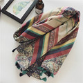 95*180cm new foreign trade Paris yarn fresh women scarf national wind fashion color striped scarf sunscreen travel shawl female