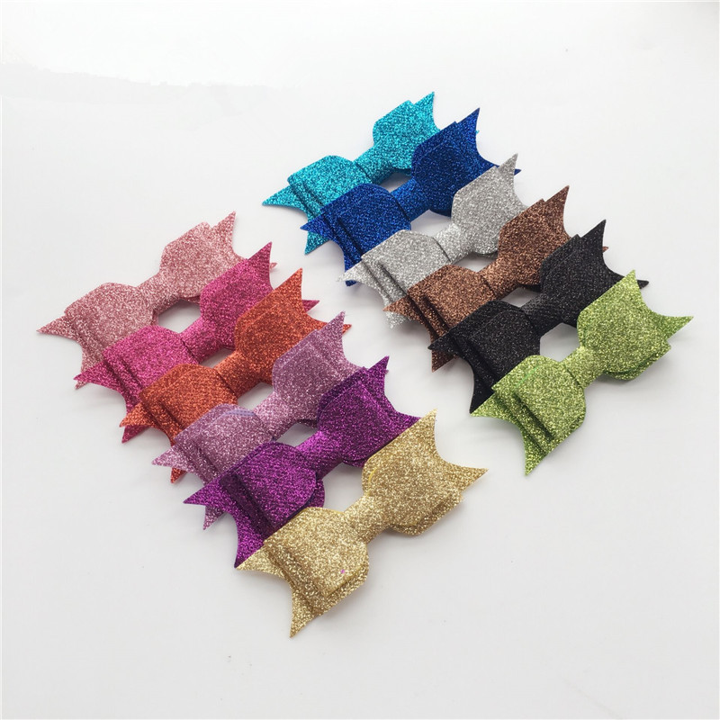 12pcs/lot Candy Hair Bows Bowknot Hair Accessories Hairpin Clips Glitter Rainbow Tie Party DIY Headwear Cute Girls Sequin Barret