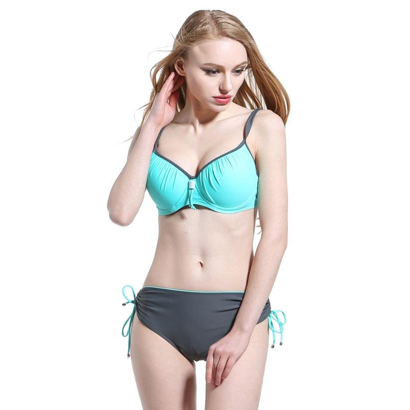 2017 New Sexy Plus Size Bikini Swimsuit Large Size Swimwear Women Bathing Suits Swim Halter Push Up Bikini Set Swimwear one piece swimsuit cheap sexy bathing suits may beach girls plus size swimwear 2017 new korean shiny lace halter badpakken