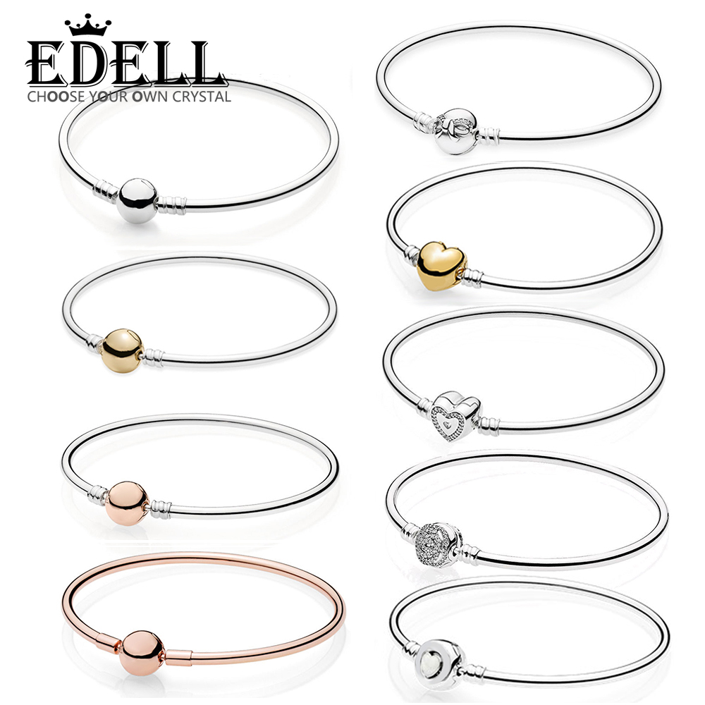 EDELL 100% 925 Sterling Silver Genuine SHINE BANGLE WITH HEART CLASP RIGIDO IN ARGENTO BESTIA Dainty Bow Wishful Heart