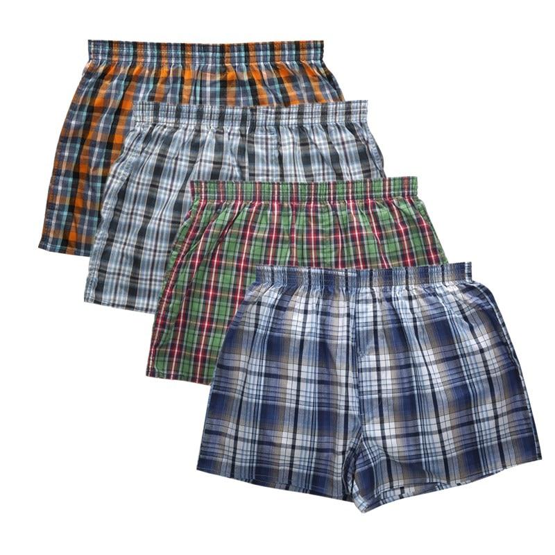 Underwear & Sleepwears Underwear Men Boxer Plaid Underpants 100% Cotton Shorts Men Striped Panties Loose High Quality Oversize Breathable Dropshipping