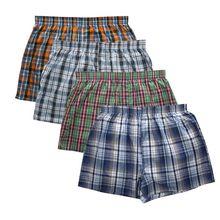Boxers à carreaux pour hommes, lot de 4 pièces, nouveau modèle de marque, caleçons en coton classique écossais, style décontracté, haute qualité