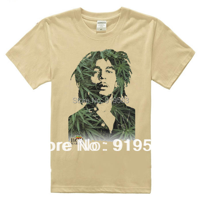 Bob Marley reggae feuilles collage avatar homme t shirt en coton épais  style jamaïcain kaki 9283d376c43