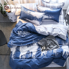 Liv-Esthete 2019 Hot Sale Art Blue Bedding Set Duvet Cover Single Double Queen King Bed Linen Flat Sheet Pillowcase For Adult