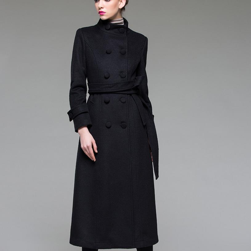 53fe66040af9d Nowe mody stanąć kołnierz mieszanki wełny płaszcze slim pokój łuszcz okopu  żakiet kobiety elegancki długi wełniany