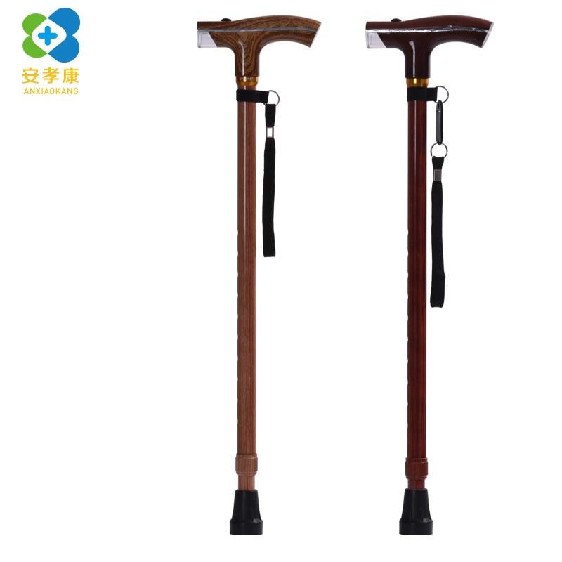 ANXIAOKANG Elderly Walking Stick High Grade Wood Grain Old Man Crutch Aluminum Alloy Stick Multi-purpose Old Man's Poles Cane
