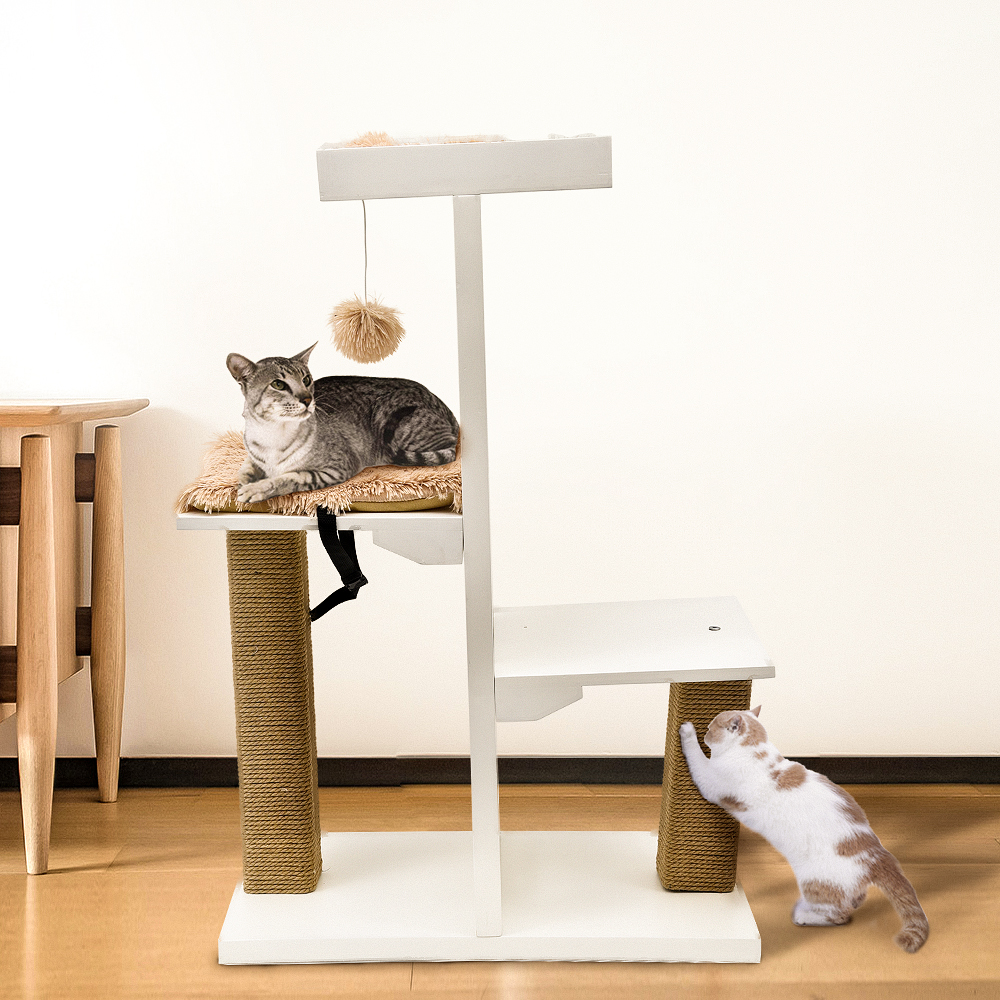 Fashion Desgin H93cm Cat Toy Climbing Solid Furniture Kitten Playing With Ball Fun Cat Scratching Solid Wood For Cat House Frame