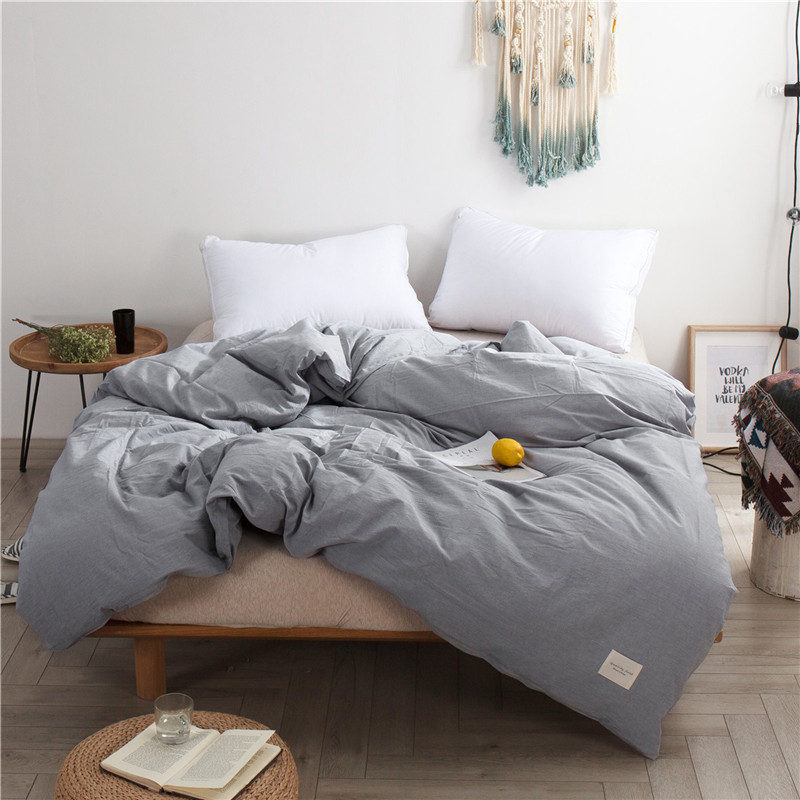 1 Piece Solid Color Simple Beddding Duvet Cover With Zipper Cotton Quilt Or Comforter Or Blanket Case Queen 220x240cm 5 Size