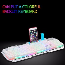 Newest Metal USB Wired Mechanical Colorful LED RGB Backlight Keyboard with phone slot holder For PC Gaming 104 Keys