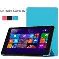 Para Teclast X10HD 3G caso Ultra Fino 3 folding fique capa de couro para Teclast HD X10 3G 10.1 ''tablet + stylus