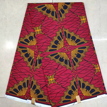 Red African Textiles Fabrics Real Wax, Flower Print Block Wax Cotton Fabric 6yards KWSH-87