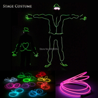10 Colors Options Birthday Wedding Party Luminous led Suit Carnival Christmas Rave EL Wire Clothing Men Light Up Glowing Costume