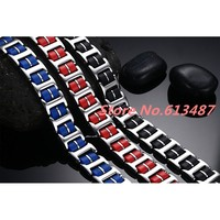 8 46 Wholesale Titanium Silver 316L Stainless Steel Black Blue Red Silicone Chain Men S Womens