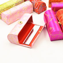Hot Sale Lipstick Case with Mirror Satin Silky Fabric Floral Printed Lip Stick Holder Cosmetics collection Box(China)
