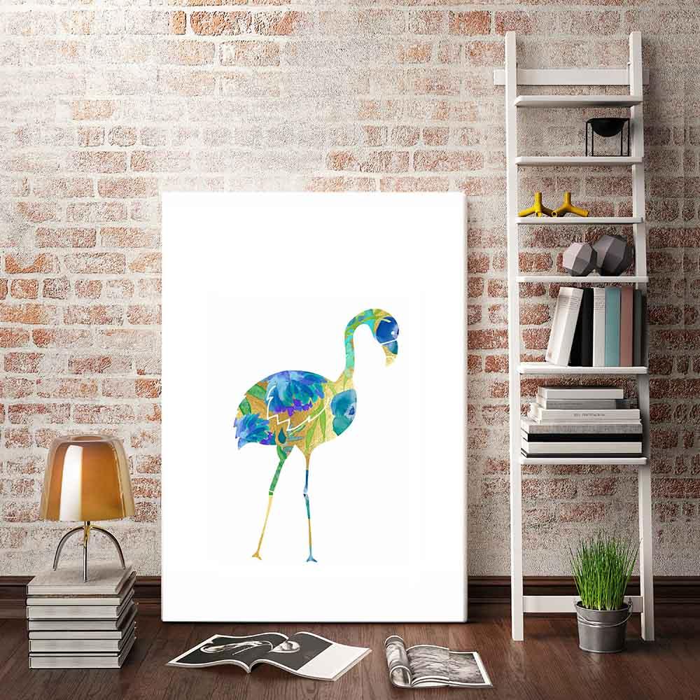 flamingo azul turquesa abstrata pintura poster na parede da lona retrato da arte para sala de