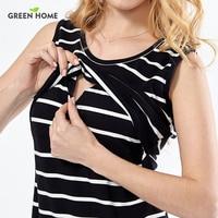 Green Home Cotton Striped Nursing Dress For Pregnancy Woman Short Maternity Dress Clothing Breastfeeding Dress Summer