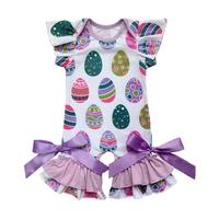 spring easter day girls jumpsuit   rompers   infant toddlers clothing baby   romper   gown easter egg flutter sleeve capris leg   romper