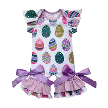 spring easter day girls jumpsuit rompers infant toddlers clothing baby romper gown easter egg flutter sleeve capris leg romper