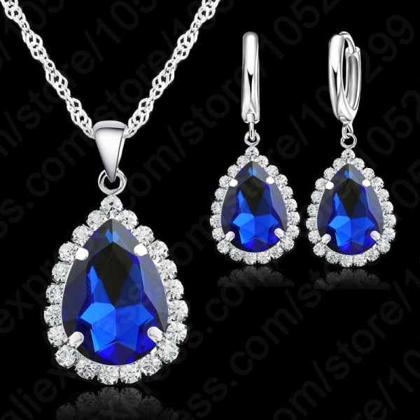 Top Quality Wedding Jewerly Set Sweety Necklace Earrings18 inch 925 Sterling Silver Neck ...