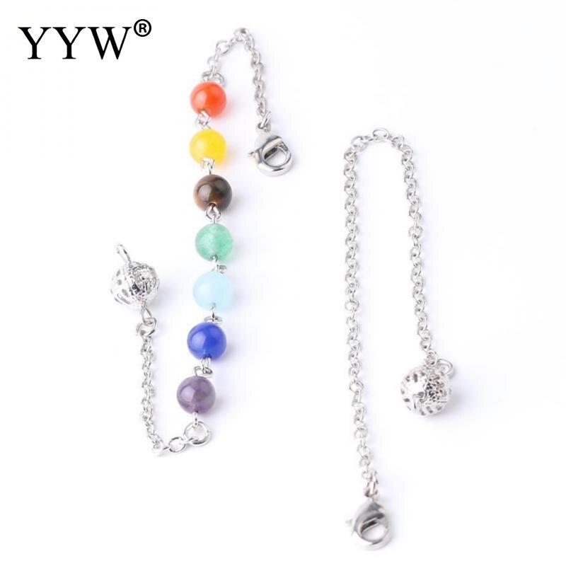 YYW meditación Sanación Reiki 7 colores pulsera de Yoga para las mujeres de piedra de Gema Natural Rosario Mala perlas langosta Cierre de cadena de mano