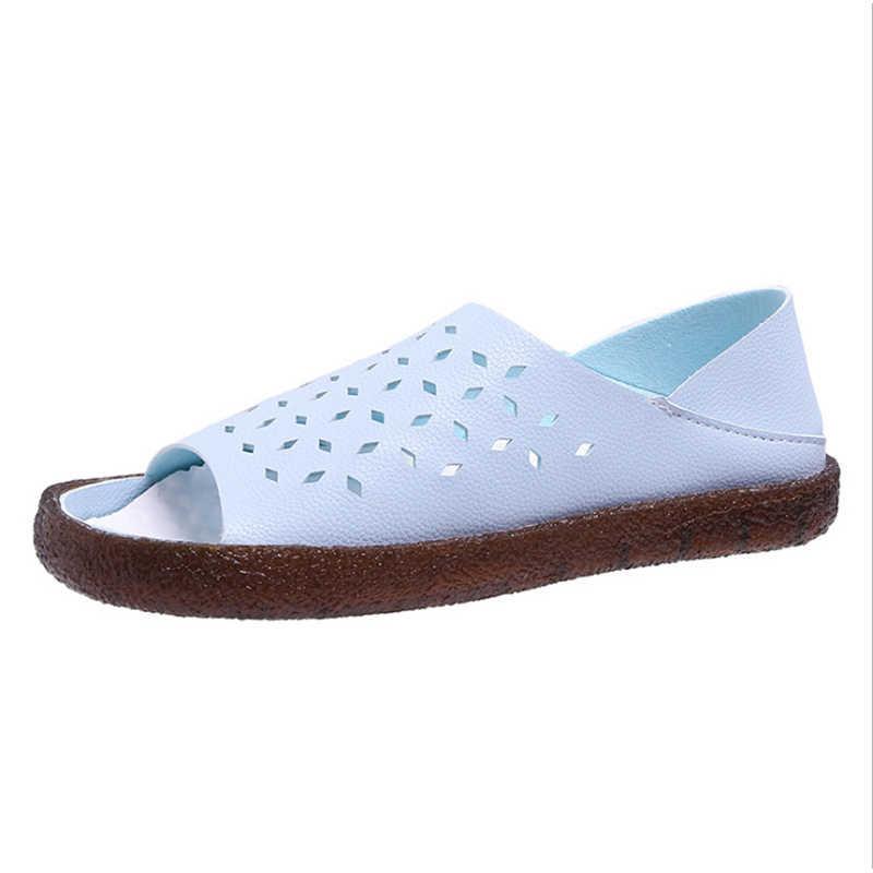 المرأة صنادل طراز جلاديتور أحذية جلدية الجوف خارج صندل مسطح السيدات عارضة لينة أسفل أحذية الصيف النساء صندل شاطئ