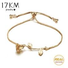17KM Fashion Rose Flower Charm Bracelet For Women Girl Bracelet Bangle Adjustable Pulseras Mujer Wedding Bridal