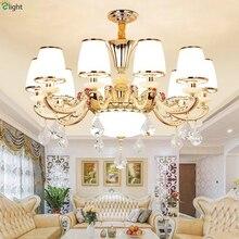 Современные светодиодные люстры из золотистого цинкового сплава для гостиной, стеклянные светодиодные подвесные люстры, светильники для столовой, подвесные светильники