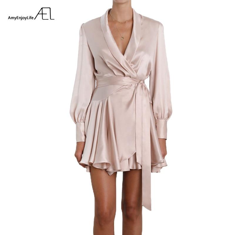 AEL été femmes Satin robes Sexy mode Femme vêtements 2018 Vestido Curto
