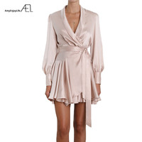 AEL Summer Women Satin Dresses Sexy Fashion Femme Clothing 2018 Vestido Curto