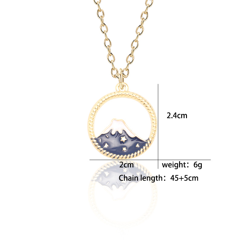 Fashion Creative DIY Pendant Enamel Alloy Fuji Mountain Snow Mountain Necklace Hollow Blue Pendant Necklace Girl Children Gift in Pendant Necklaces from Jewelry Accessories