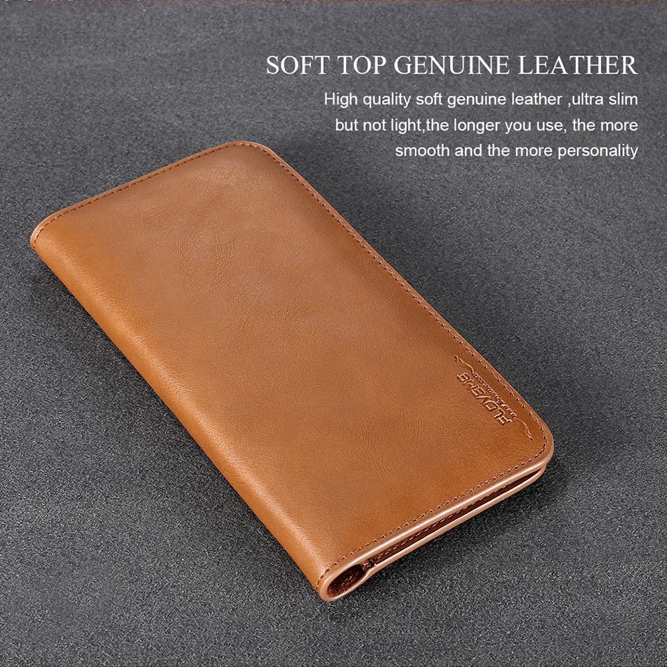 FLOVEME Genuine Leather Wallet Case For iPhone 6 6S 7 Plus Cover Multi-function Vintage Luxury Phone Pouch For Samsung S6 S7 (7)