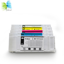 цена на bulk price 700ml disposable cartridge for epson t3000 t5000 t7000 printer, 5 colors compatible cartridge with one time use chip