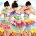 Novas Crianças Colorido Saia Trajes de Dança Feminino Roupas Performance de Palco