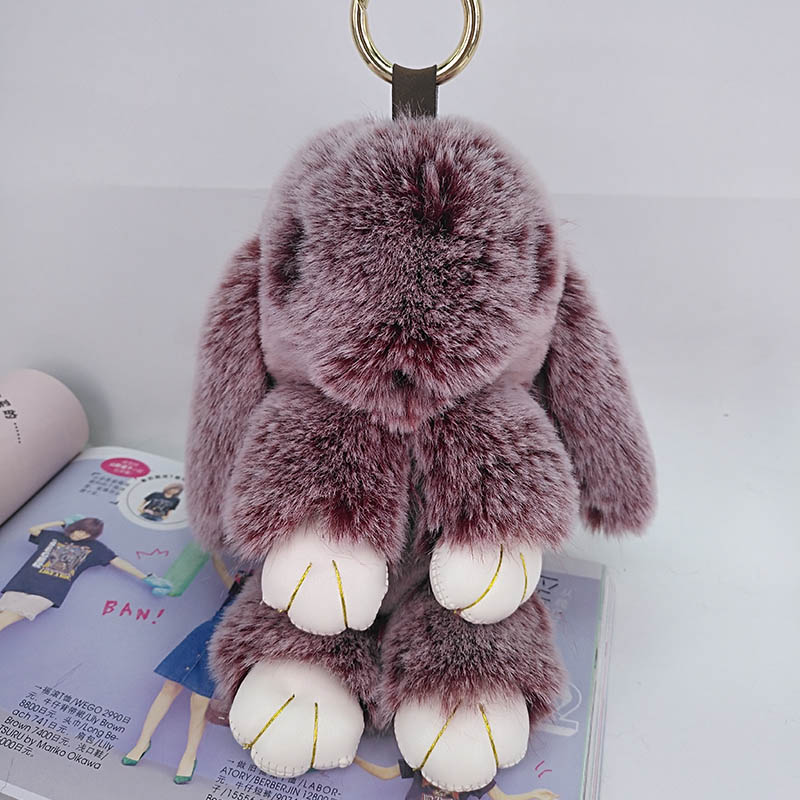 Cute Rabbit Puffy Key Chains Handmade Bags Pendant Fashion Jewelry Ornament Car Keychain New Year Gifts Kids Toys 1
