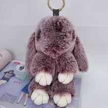 Милый кролик пушистый брелок для ключей подвеска сумки ручной