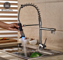 Luxury Chrome Finish Spring Pull Down Kitchen Sink Faucet Dual Spout Kitchen Mixer Taps with LED Light Sprayer