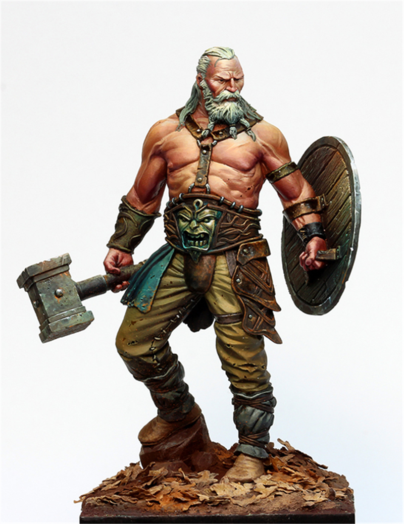 1/24 75mm Resin Models Kits Science Fiction Movie Game Character, Old Barbarian Unpainted And Unassembled R12G