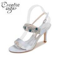 Creativesugar Étincelle cristal à talons hauts sandales d'été de soirée en satin robe de cocktail chaussures de bal de mariage argent gris violet