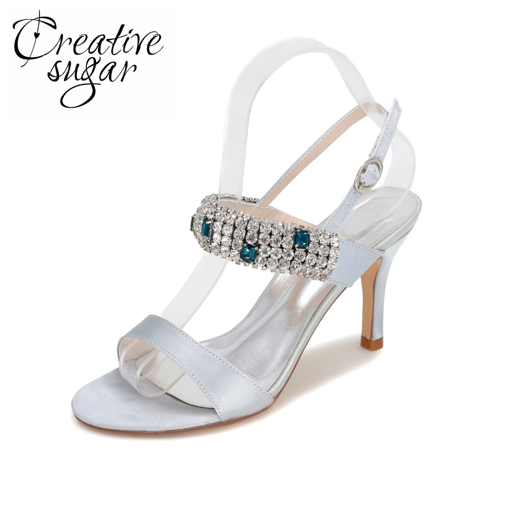 Creativesugar Sparkle crystal high heel sandals summer satin evening party cocktail dress shoes prom wedding silver grey purple