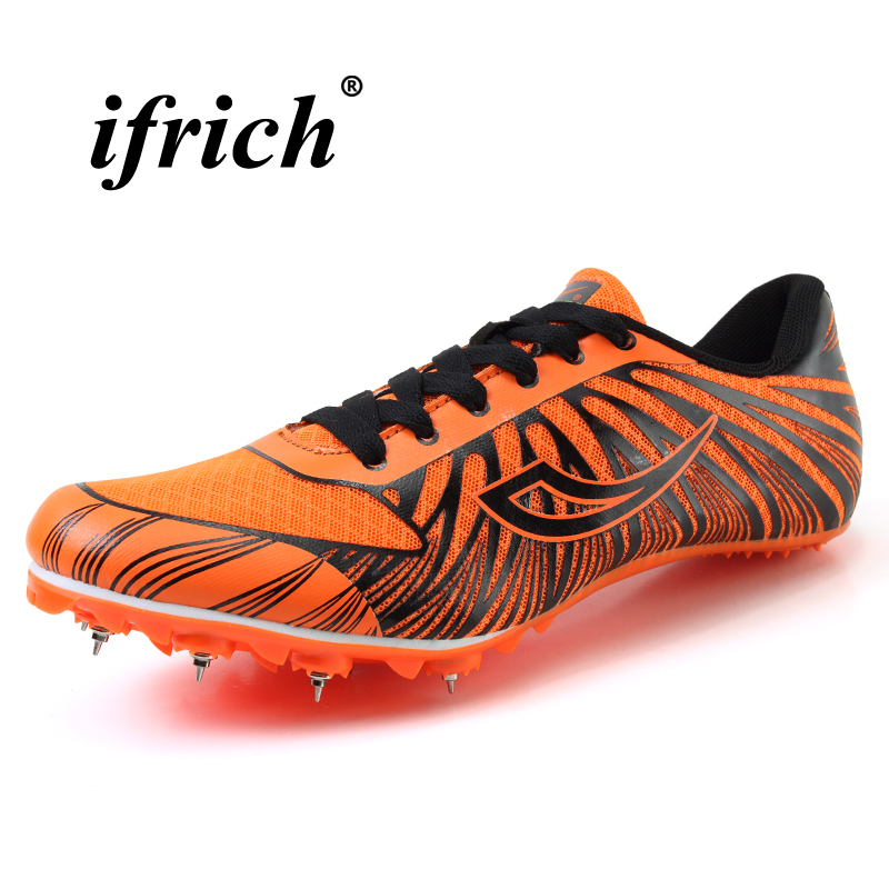 Hot Sell Track and Field Shoes for Men Women Breathable Spike Running Shoe Greeen Orange Track Shoes Spikes Sneakers Men