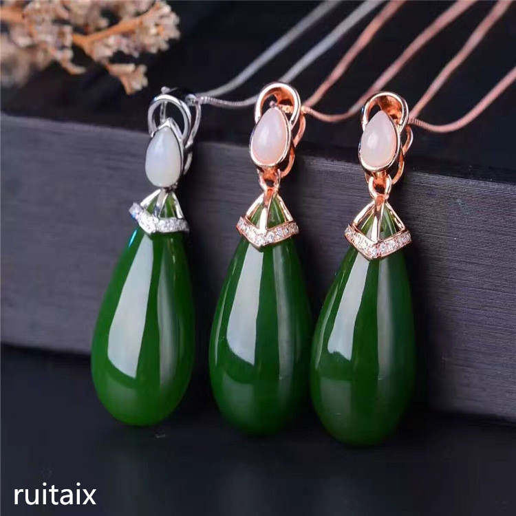 KJJEAXCMY boutique jewels S925 Pure silver inlay natural jade female style pendant + necklace, collarbone chain, drip jewelry m metal alloy circles collarbone necklace