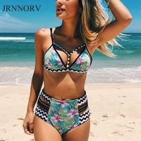JRNNORV High Waist Bikini Set Women Swimwear Push Up Swimsuit Biquini Beach Print Brazilian Bikinis Bathing
