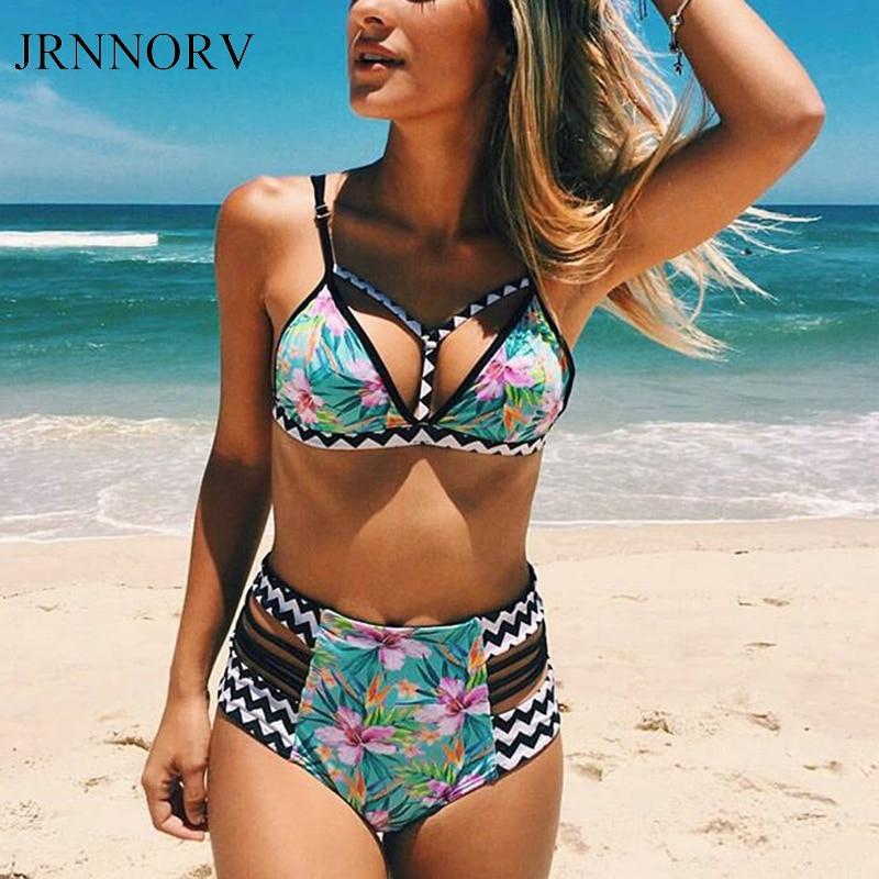JRNNORV High Waist Bikini Set Women Swimwear Push Up Swimsuit Biquini Beach Print Brazilian Bikinis Bathing Suit AA00061