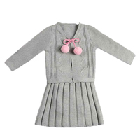 Little Girls Boutique Clothing Autumn Knitted Baby Girls Sweater Cardigan 2pcs Girls Outfit Suspender Skirt Set