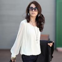 2015 Summer Fashion Style O Neck Long Sleeve Chiffon Blouse Rivet Female Casual Shirts Plus Size