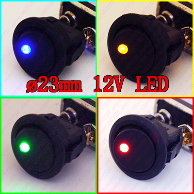 (4pcs/lot 4models)Car DIY 23mm Mini Round Rocker Switch 12V/16A LED illuminated Toggle Switch ON-0FF Power Push Button Switch on off round rocker switch led illuminated car dashboard dash boat van 12v