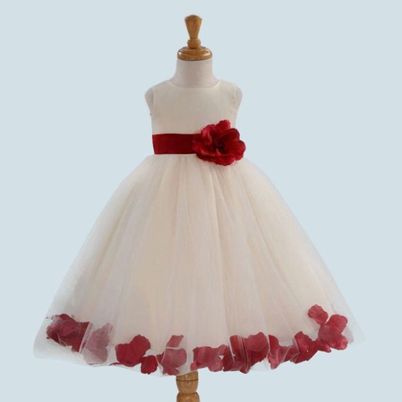 Elegant Infant Girls Flower Dresses Long Wedding Bridesmaid Toddler ...