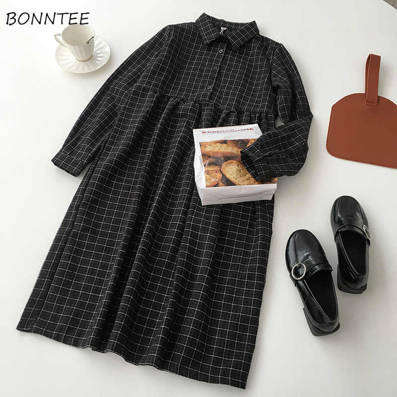 Robe femmes décontracté une ligne de haute qualité taille haute bouton Plaid doux all-match printemps Style coréen confortable à manches longues belle