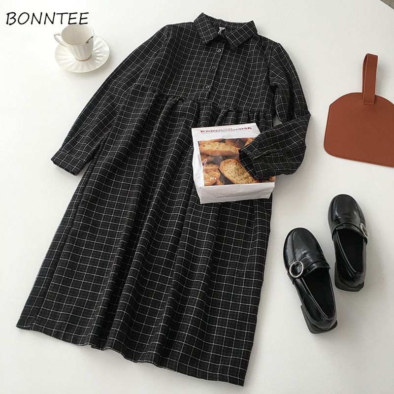 Dress Women Casual A-Line High-quality High Waist Button Plaid Soft All-match Spring Korean Style Comfortable Long Sleeve Lovely