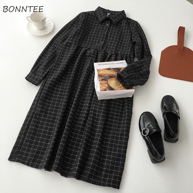 Vestido feminino casual a line alta qualidade cintura alta botão xadrez macio all-match primavera estilo coreano confortável manga longa adorável